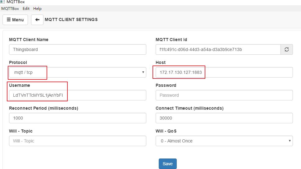 Thingsboard MQTT连接至服务器